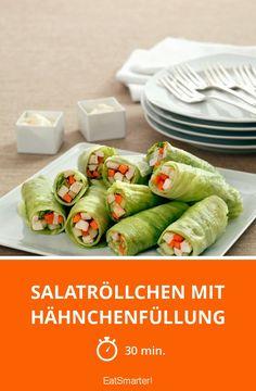 Salatröllchen mit Hähnchenfüllung und frischer Mayonnaise Salad rolls with chicken filling – perfect low-carb snack! Diet Snacks, Health Snacks, Hcg Recipes, Healthy Recipes, Healthy Drinks, Healthy Eating, Salad Rolls, Low Carb Keto, Relleno