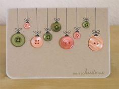 DIY holiday crafts - great idea for teacher holiday cards Xmas Cards, Diy Cards, Christmas Postcards, Craft Cards, Greeting Cards, Christmas Holidays, Christmas Decorations, Merry Christmas, Christmas Buttons