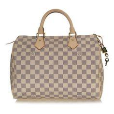 Louis Vuitton Damier Azur Speedy 30 Handbag ($125) ❤ liked on Polyvore featuring bags, handbags, purses, accessories, louis vuitton, borse, coated canvas handbag, travel bag, travel handbags and louis vuitton handbags