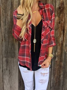 Andee Plaid Top | black tee | skinny jeans | distressed | fall | flannel