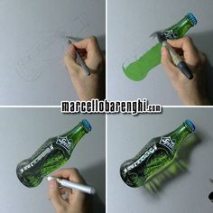Marcello Barenghi: A glass bottle of Sprite - drawing phases Watch me draw it: http://youtu.be/21Ag39pvZdo