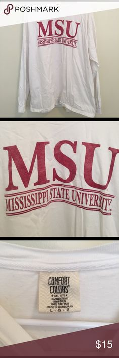 Mississippi State University Long sleeve t shirt Comfort color | letters a little faded from washing | worn a couple of times comfort colors Tops Tees - Long Sleeve