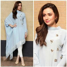 Sana knows how to slay and she never leaves a question for critics. So, take a look at Sana Javed Biography and many other exciting stuff. Pakistani Dress Design, Pakistani Outfits, Indian Outfits, Indian Designer Outfits, Designer Dresses, Kurti Designs Party Wear, Kurta Designs, Hijab Fashion, Fashion Dresses