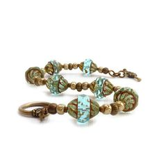 Blue Glass Bracelet - Picasso Glass Beads - Antiqued Finish - Ocean Blue - Bronze Toggle Clasp