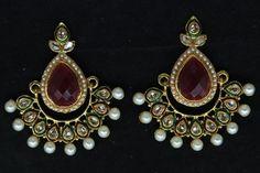 INDIAN EARRINGS SET KUNDAN PEARL CZ GOLD TONE WOMEN BOLLYWOOD FASHION JEWELRY #Handmade #DropDangle