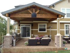 <p>Patio covers create the perfect balance between being indoors and out. Outdoor living space with patio cover Custom patio cover with 4 x 14 cedar beams with custom fabricated brackets and hangers. Patio Cover with Stone Work</p>