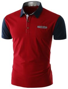 Doublju Men's Short Sleeve Pocket Polo Shirt (CMTTS014) #doublju