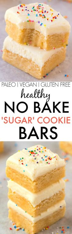 No Bake 'Sugar' Cookie Bars (V, GF, Paleo)- Secretly healthy no bake bars LOADED with holiday (or Christmas!) flavor but made in one bowl and guilt-free! Refined sugar free and packed with protein! {v (Vegan Gluten Free Recipes) Low Carb Desserts, Gluten Free Desserts, Healthy Baking, Vegan Desserts, Healthy Desserts, Chocolate Desserts, Low Calorie Baking, Healthy Sweet Treats, Light Desserts