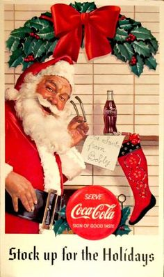 We are getting ready for Christmas and getting exited! Lots of vintage holiday p… We are getting ready for Christmas and getting exited! Lots of vintage holiday posters in store and on our website. Coca Cola Poster, Coca Cola Ad, World Of Coca Cola, Vintage Christmas Images, Vintage Holiday, Christmas Pictures, Coca Cola Santa Claus, Coke Santa, Santa Clause