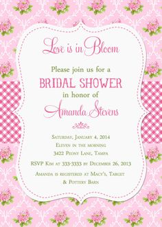 Pink Peonies Floral and Gingham Bridal Shower by PartyPopInvites, $17.00