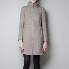 FLASH SALE Zara shawl collar coat off white size m Zara women's coat, off white with beautiful unique shawl collar, zippered pockets. Very warm and chic Zara Jackets & Coats Pea Coats