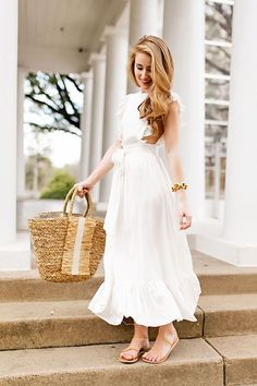 ruffled white maxi dress | spring fashion | spring style | how to style a maxi dress | fashion for spring | style ideas for spring | warm weather fashion | fashion tips for spring || a lonestar state of southern