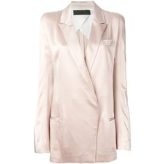 Haider Ackermann double breasted blazer ($800) ❤ liked on Polyvore featuring outerwear, jackets, blazers, blazer, coats & jackets, pink, pink blazer, haider ackermann, pink blazer jacket and light pink jacket