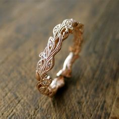 Diamond Wedding Ring in 14K Rose Gold with Diamonds in Flower Buds & Leafs with Antiquing on Vine Size 5 by SlowackJewelry on Etsy