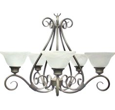 #3 POSSIBLE DINING ROOM Maxim Lighting 2655MRPE Pacific 5-Light Chandelier in Pewter with Marble Glass in Brands, Maxim Lighting, Maxim Lighting, Maxim Ceiling Lights: ProgressiveLighting.com