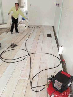 Wide Plank Farmhouse floor tutorial using PLYWOOD!