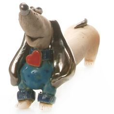 Loving Dachshund with Heart in Blue Cute and Quirky Ceramic   Etsy Lovers Hands, Dog Lovers, Dog Lover Gifts, Dog Gifts, Dog Crate Table, Brown Dachshund, Clay Flower Pots, Hand Sculpture, Teal And Grey