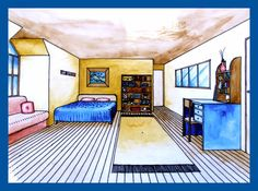 This is the completed final work (tone applied using water colour) from the one point perspective bedroom tutorial shown in the video above – a teaching exemplar by Amiria Robinson. 1 Point Perspective, Perspective Drawing, High School Art, Middle School Art, 7th Grade Art, 3d Art, Architecture Design, Art Classroom, Future Classroom
