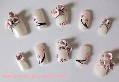 Japanese Nail Art - Cherry Blossoms