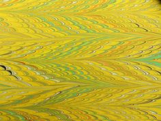 Hand Marbled Paper - Greens and yellows:  Yellow Knit