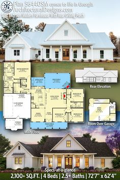Modern Farmhouse Plans, White Farmhouse, House Floor Plans, Modern Bedroom, My Dream Home, Building A House, Architecture Design, New Homes, Square Feet