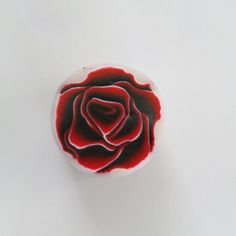 Unbaked Polymer clay cane Red and black rose Large by Shygarshop
