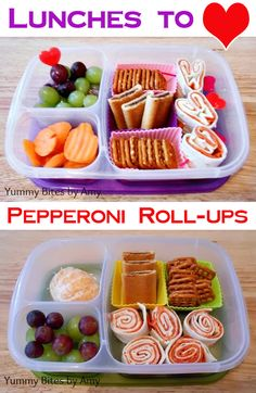 Easy to make pepperoni roll-ups. Packed in @EasyLunchboxes