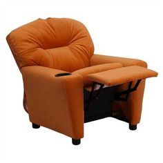 The Modern Kids' Orange Microfiber Recliner with Cup Holder will become your child's favorite perch!