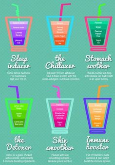 Smoothies for insomnia, detox, skin, immune system, stress and upset stomach.