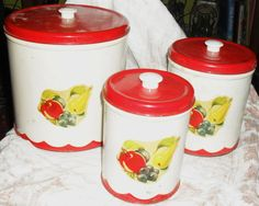 Vintage 1950s  3 Piece Canister Set  Metal  Red by sasharaveen, $21.00