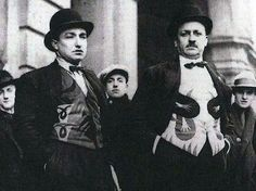 Futurist fashion. Fortunato Depero and Tommaso Marinetti wearing bright coloured waistcoats