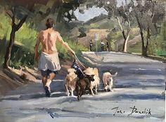 Dogwalker in the Park by Toni Danchik Oil ~ 9 x 12