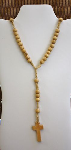 HANDMADE Tan WOOD Bead ROSARY by anafili on Etsy, $5.00