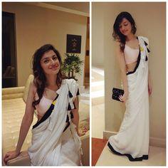 Divya Khosla Kumar in white saree Indian Attire, Indian Ethnic Wear, Indian Style, Indian Dresses, Indian Outfits, Indian Saris, Beautiful Saree, Beautiful Dresses, Simple Sarees