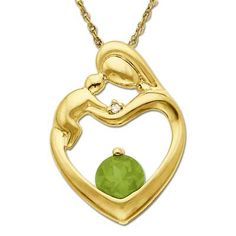5.0mm Peridot and Diamond Accent Motherly Love Heart Pendant in 10K Gold. Violet's birthstone :3