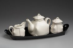 margaret bohls teapot diagonal grid ware • white & black ware •
