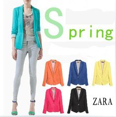 2014 Women Ladies za** Candy Color Red black blue Casual blazers feminino S M L For Spring woman blaser US $10.50 - 14.50