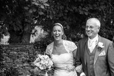 Wedding photography of Bride and Father arriving at the Church