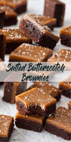 Delicious Chocolate Fudge Brownies with a topping of homemade Chewy Salted Butterscotch No thermometer required for this butterscotch sauce butterscotch chocolatebrownies fudgebrownies saltedcaramel via sugarsaltmagic Butterscotch Brownies, Chocolate Fudge Brownies, Chocolate Desserts, Chocolate Chocolate, Cheesecake Brownies, Homemade Fudge Brownies, Recipes With Butterscotch Sauce, Brownies With Caramel, Snicker Brownies