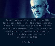 Danger approaches the Christian life from three directions: the world through which we journey, the god of this world and our unmortified flesh. That's why we need a rock, a fortress, a deliverer, a buckler, a high tower to run to— all names for God.— A.W. Tozer
