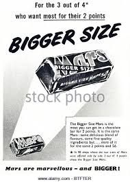 Mars chocolate bars in English magazine circa 1950