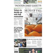 The front page of the Taunton Daily Gazette for Friday, Sept. 18, 2015.