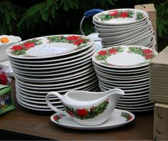 National Garage Sale Day! #Poinsettia #Christmas Dishes