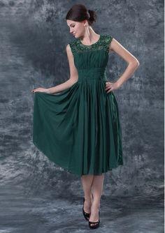 Scoop Tea-length Prom Dress / Dark Green Mother of The Bride Dresses DIB138086