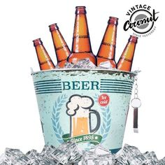 Metal Ice Beer Bucket with Bottle Opener for Garden Party BBQ Barbeque Birthday (Beer Party) Drink Bucket, Beer Bucket, Retro Party, Ice Beer, Cold Ice, Gadgets, See On Tv, Unusual Gifts, Gifts For Father