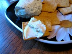 Boursin Cheese knock off recipe from Paula Deen!  Make at least 24 hours ahead for flavors to set in.  Boursin Cheese is SO expensive (around five dollars for 5.5 oz), and this makes the equivalent of over 3 normal packages for around $5.00. Divide mixture into 3 equal servings and mixed up the spices a bit.  On one of the servings roll the cheese into extremely fine chopped herbs, which makes a gorgeous presentation for a party.  Use a combination of parsley, thyme, and basil.  It is to die…