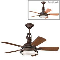 Can be flush mount ... Kichler Lighting 310101 4 Light Hatteras Bay Patio Ceiling Fan - ATG Stores