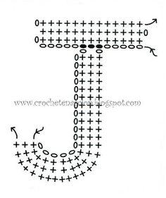 "Free Crochet Letter ""J"" Diagram Crochet Motifs, Crochet Diagram, Crochet Chart, Crochet Basics, Love Crochet, Filet Crochet, Crochet Stitches, Knit Crochet, Alphabet Au Crochet"