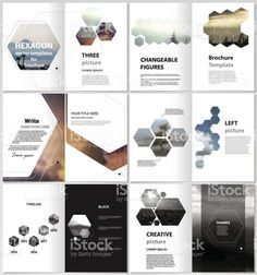 The minimalistic vector illustration of the editable layout of format modern covers design templates for brochure, magazine, flyer, booklet, report. Abstract polygonal modern style with hexagons. - Buy this stock vector and explore similar vectors at Ad Grafik Magazine, Design De Configuration, Broucher Design, Booklet Layout, Flyer Layout, Mises En Page Design Graphique, Graphic Design Brochure, Brochure Cover Design, Web Design Quotes