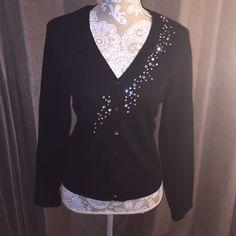 Jeweled cardigan Black cardigan adorned with rhinestones. Made with Italian yarn. Talbots Sweaters Cardigans